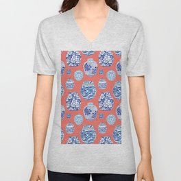Chinoiserie Ginger Jar Collection No.4 Unisex V-Neck