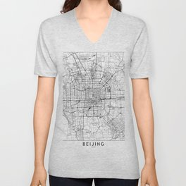 Beijing White Map Unisex V-Neck