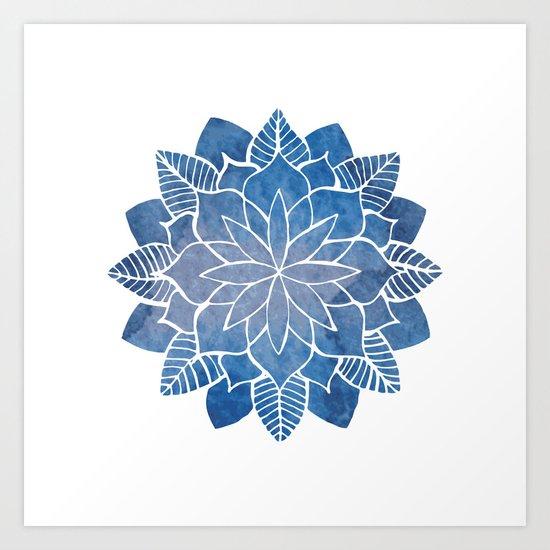 Blue Marine Mandala Art Print