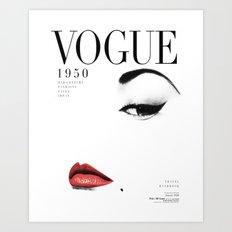 Fashion, Woman, Lips, Vogue, Model, Fashion art, Photo, Minimal Art Print