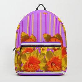 GOLDEN DAFFODILS PURPLE VIOLET MODERN ART Backpack