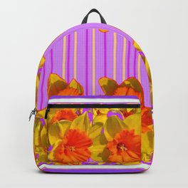 GOLDEN DAFFODILS PURPLE VIOLET MODERN ART Backpack
