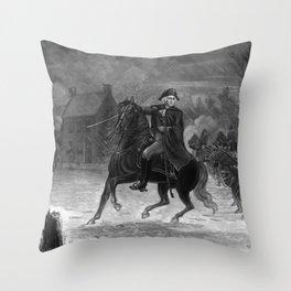 George Washington At The Battle Of Trenton Throw Pillow