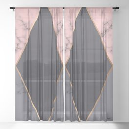 Marble Geometry 018 Sheer Curtain