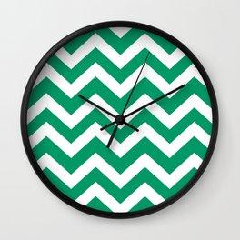 Green-cyan - green color - Zigzag Chevron Pattern Wall Clock