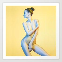 Nude Woman Before Yellow Background Art Print