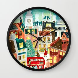 London in the snow Wall Clock