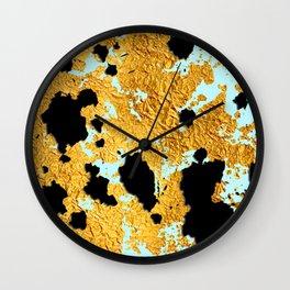 24-Karat Gold Sparkling Marble Veins on Pastel Blue Wall Clock