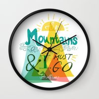 the mountains are calling Wall Clocks featuring The Mountains are Calling by hello niccoco design by nicole duquette
