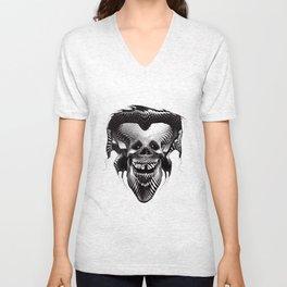 Funny Hipster Skull with Headphones Unisex V-Neck