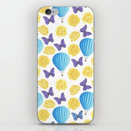 Modern yellow blue violet watercolor floral butterfly pattern iPhone Skin