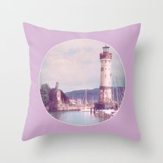 Lighthouse at Lindau, Lake of Constance Throw Pillow