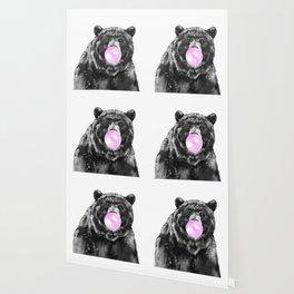 Bubble Gum Big Bear Black and White Wallpaper