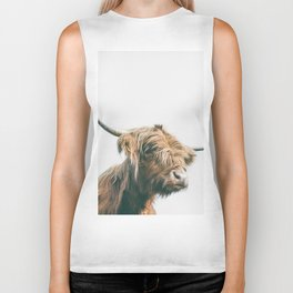 Majestic Highland cow portrait Biker Tank