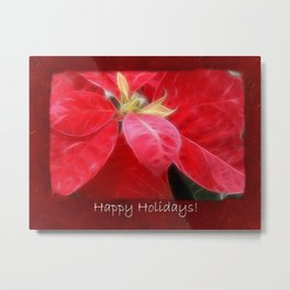 Mottled Red Poinsettia 2 Happy Holidays P5F5 Metal Print