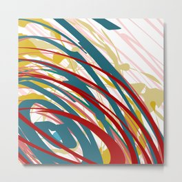 Chaotic Rosy Disorder Abstract Art Metal Print
