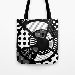 Twisted Web - Black And White, Patterned, Abstract Art Tote Bag