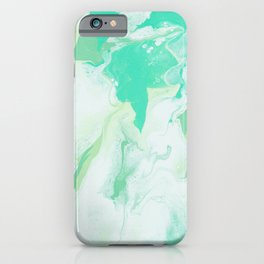 Green & White Abstract Art iPhone Case