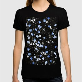 blue abstract hydrangea pattern T-shirt