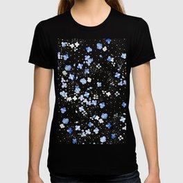 blue abstract hydrangea pattern T-shirt