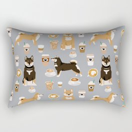 Shiba Inu coffee dog breed pet friendly pet portrait coffees pattern dogs Rectangular Pillow