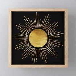 Golden Sunburst Starburst Noir Framed Mini Art Print