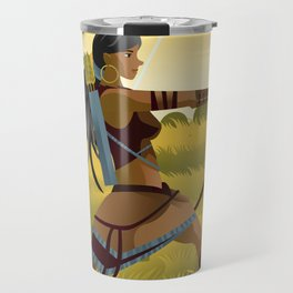 indian native african huntress archer warrior with bow and arrow in the wild Travel Mug