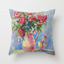 Roses, flowers Throw Pillow