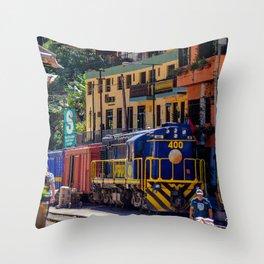 Peru Rail Train - Aguas Calientes Throw Pillow