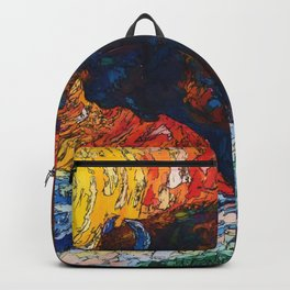 Wild the Storm Bison Painting by OLena Art Backpack