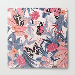 Seamless Floral And Butterflies Pattern Metal Print