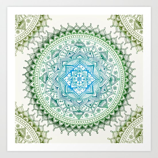 Forest Colours Flower Mandala Art Print