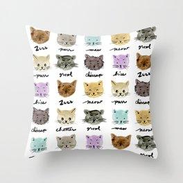 Kitty Language Throw Pillow