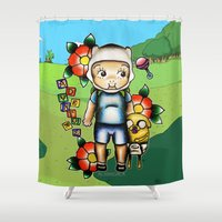 finn and jake Shower Curtains featuring Finn the Kewpie and Jake the puppy by alxbngala