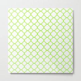 Green, Lime: Quatrefoil Clover Pattern Metal Print