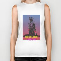hotline miami Biker Tanks featuring HOTLINE MIAMI by Bertrand Nadal