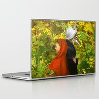 red hood Laptop & iPad Skins featuring Red Riding Hood by Diogo Verissimo