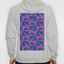 Chinese Guardian Lion Statues in Pottery Blue + Pink Hoody