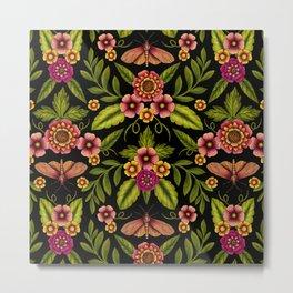 Dark Moths & Flowers - Moody Floral Pattern Metal Print
