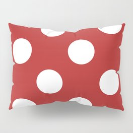 Large Polka Dots - White on Firebrick Red Pillow Sham