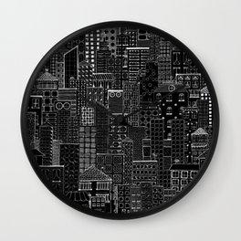 City Doodle (night) Wall Clock