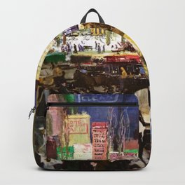 Bustling Big City New York landscape painting by George Wesley Bellows Backpack