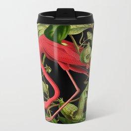 Flamingo Black Metal Travel Mug