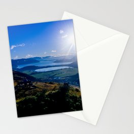 lake wanaka covered in blue colors new zealand beauties and mountains at sunrise Stationery Cards