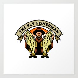 Fly Fisherman Holding Largemouth Bass Woodcut Art Print