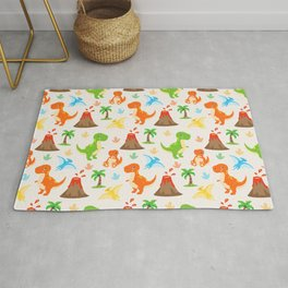 Cute Dinosaurs Nursery Illustration – Jurassic print with T-Rex and Pterodactyl Rug