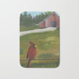 Kevin the cardinal loves to sing his heart out on the farm Bath Mat