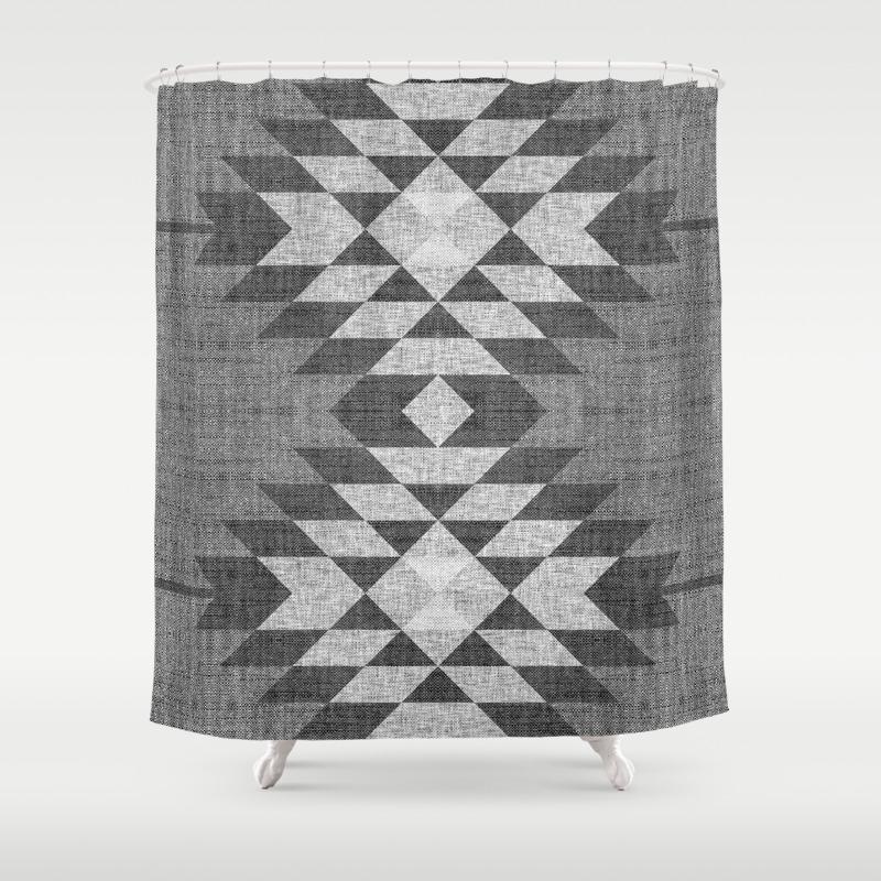 Grey Diamond Linen Shower Curtain