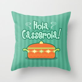 Hola Casserola! Spanglish illustration Throw Pillow
