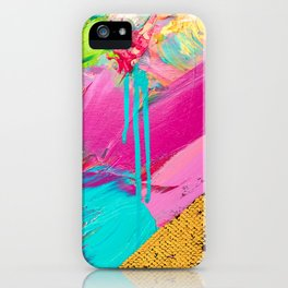 Abstract Acrylic brushstrokes and sequins iPhone Case